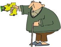 Grand-papa avec un canon de stupéfaction Photo libre de droits