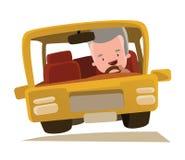 Grand-papa conduisant un personnage de dessin animé d'illustration de voiture Image libre de droits