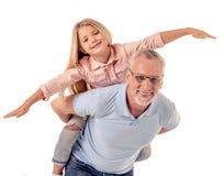Grand-papa et petite fille Images libres de droits