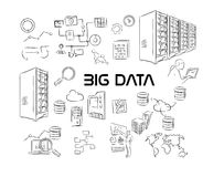 Grand paquet de dessin de main d'illustration de données Photo libre de droits