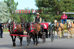 Grand Parade, Cheyenne Frontier Days. Cheyenne Frontier Days is a world-famous annual celebration of the American West featuring the 'Daddy of 'em All,' an award Royalty Free Stock Photos