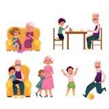 Grand-parent passant le temps avec des petits-enfants illustration de vecteur