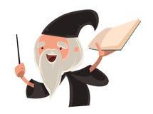 Grand personnage de dessin animé d'illustration de vieil homme de magicien illustration stock