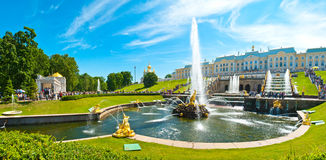 Grand Peterhof Palace. The Grand Peterhof Palace with the Grand Cascade fountains in foreground and the West Chapel in the background in Peterhof, Russia royalty free stock photos