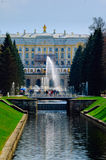 Grand Peterhof Palace, Fountain Cascade. Russia Stock Images