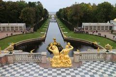 Grand Peterhof Palace and the Grand Cascade Stock Photo