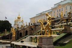 Grand Peterhof Palace and the Grand Cascade Stock Photos