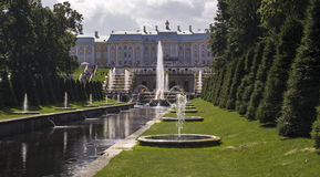 Grand Peterhof Palace, the Grand Cascade and Samson Fountain. Stock Images