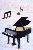 Grand Piano. Picture of a grand piano cut out of carton with musical notes on a light neutral background royalty free stock photography