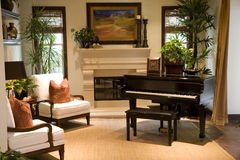 Grand Piano. Luxury home music room with a grand piano stock image