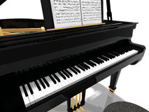 Grand piano. Black grand piano. 3D illustration. Isolated on bright background Royalty Free Stock Photography
