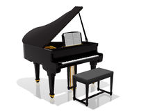 Grand piano. Digital illustration of a piano with bench against a white background Royalty Free Stock Photography