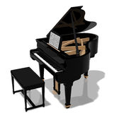 Grand piano. Digital illustration of a piano with bench against a white background Stock Images