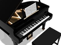 Grand piano. Digital illustration of a piano with bench against a white background Royalty Free Stock Photo