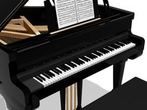 Grand piano. Digital illustration of a piano with bench against a white background Stock Photo