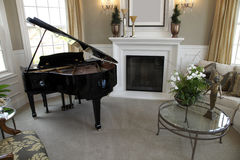Grand piano. Luxury home grand piano with stylish decor royalty free stock photography