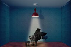 Grand piano. And bench in empty room Royalty Free Stock Photos