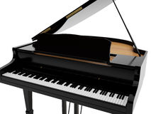 Grand piano of black colour. Black grand piano. High resolution image. 3d illustration Royalty Free Stock Photography