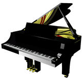 Grand piano. With closed lid isolated over white, 3D render Royalty Free Stock Photography