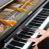 Grand piano closeup Stock Photo