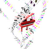 Grand piano with colored flying partition. Aerial concept. Grand piano with colored flying notes on partition sheets.Aerial concept Royalty Free Stock Photos