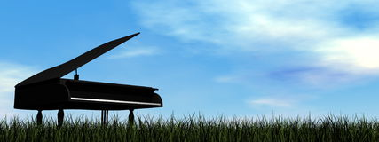 Grand piano - 3D render. Black grand piano alone outdoor by day - 3D render Royalty Free Stock Image