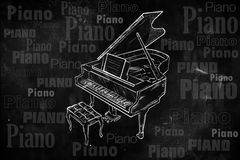 Grand Piano Drawing on Blackboard. Music background Stock Photos
