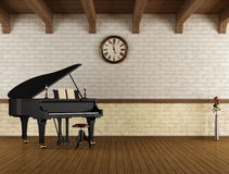 Grand piano in a empty room Stock Photography
