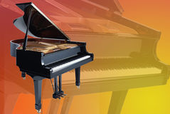 Grand piano on a faded piano background Stock Photo