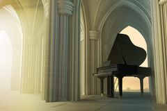 Grand piano in the gothic church. With the god light. 3D render illustration Stock Photos