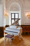 Grand piano in great hall. White grand piano in Kaunas town hall, Lithuania royalty free stock photography