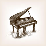Grand piano hand drawn sketch style vector Stock Photos