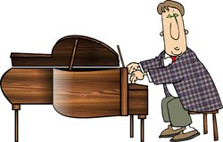 Grand Piano Man. This illustration that I created depicts a man playing a grand piano Stock Photos