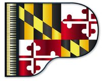 Grand Piano Maryland Flag. The Maryland state flag set into a traditional black grand piano Stock Images