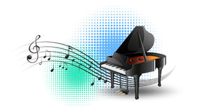 Grand piano with music notes in background. Illustration Stock Photos