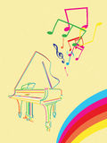 Grand piano with musical notes Royalty Free Stock Photos