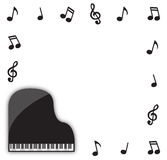 Grand Piano With Musical Notes Stock Images