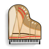 Grand Piano Opened Vector. Realistic Black Grand Piano Top View. Isolated Illustration. Musical Instrument. Stock Photos