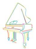 Grand piano over white stock photos