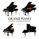 Grand piano. Grand piano realistic vector illustrations set. royalty free illustration