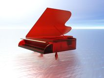 Grand piano on sea. Three dimensional illustration of open red grand piano on surface of calm sea Stock Images