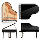 Grand Piano Set Vector. Realistic Black Grand Piano Top And Back View. Opened And Closed. Isolated Illustration. Musical Stock Photo