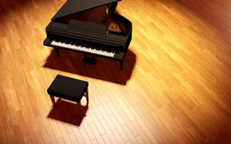 Grand Piano on the stage of concert hall. Black Grand Piano on the stage of concert hall stock photo