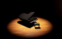 Grand Piano on the stage of concert hall. Black Grand Piano on the stage of concert hall Stock Images