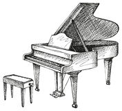 Grand piano and stool for musician. Vector freehand drawing of an open grand piano and stool for a musician Stock Photo