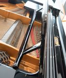 Grand piano strings. Piano inside Stock Photo