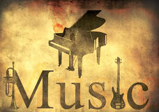Grand piano, trumpet and guitar. Music theme over retro background royalty free illustration