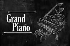 Grand Piano typography drawing on blackboard. Wallpaper Royalty Free Stock Image