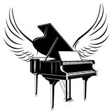 Grand piano and wing. Grand piano and flying wing Stock Image