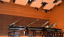 Grand Pianos on Acoustic Stage. 4 Steinway pianos grace the stage under an acoustic ceiling and in front of an acoustic wall in preparation for simultaneous play Royalty Free Stock Photos